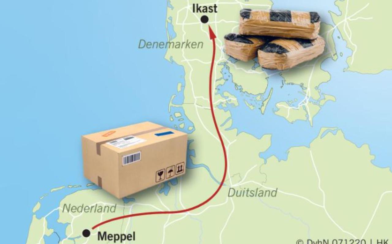 In Meppel werden door DPD drugspakketten met bestemming Ikast in Denemarken onderschept.