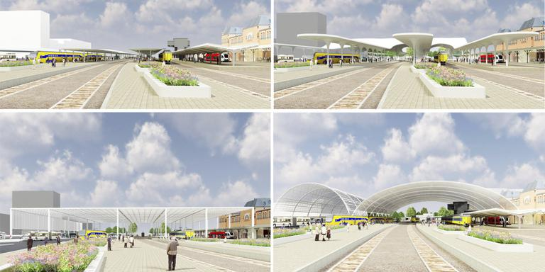 Impressie van het nieuwe aanzicht van het Hoofdstation in Groningen.
