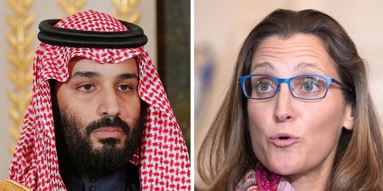 De Saoedische kroonprins Mohammed bin Salmen en de Canadese minister Chrystia Freeland hebben het aan de stok. Foto: EPA