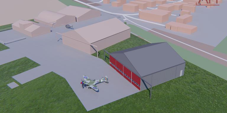 Zo komt de nieuwe hangar op het vliegveld in Oostwold er uit te zien.