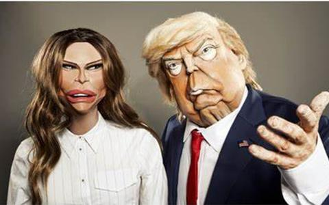 Melania en Donald Trump volgens de makers van Spitting Image.