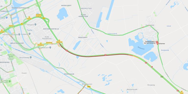 Vanaf Westerbroek staat het verkeer vast. Foto: Goole Maps