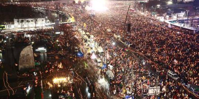 Weer massaprotest tegen president Zuid-Korea