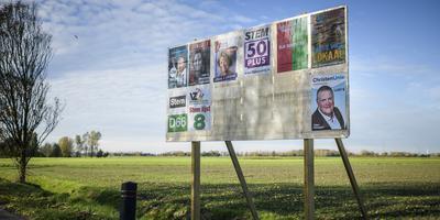 Verkiezingsposters in het Groningse Niezijl in 2018. Foto: Archief Kees van de Veen