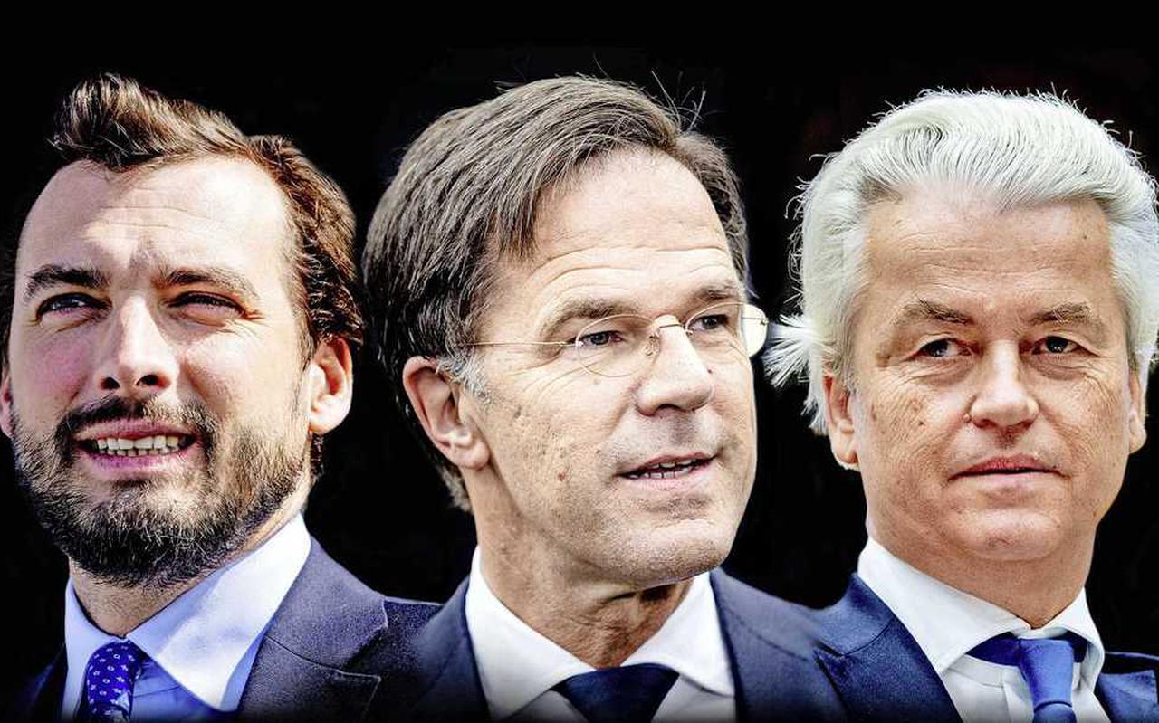 Thierry Baudet, Mark Rutte en Geert Wilders.