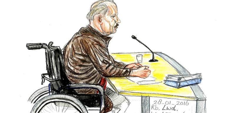 Lambert D. in de rechtbank in Leeuwarden. Tekening Annet Zuurveen