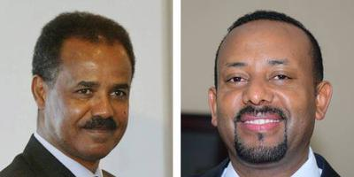 De Eritrese president Isaia Afewerki (links) en de Ethiopische premier Abiy Ahmed. FOTO ANP