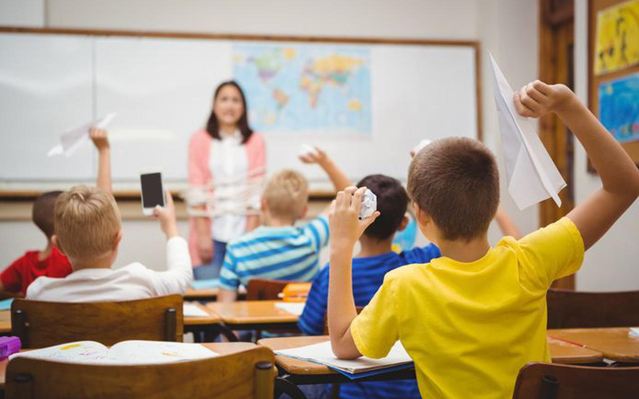 Een klas van een basisschool, ter illustratie.