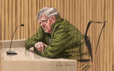 Een rechtbanktekening van Jan B. uit Nijeveen. Tekening: Petra Urban