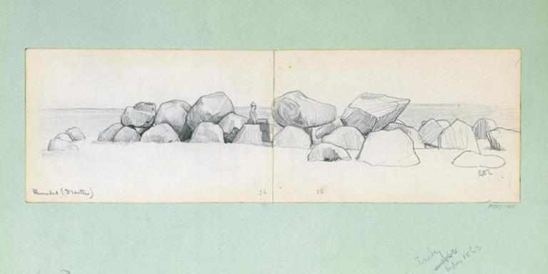 De tekening die Alma Tadema maakte van hunebed D14-Eexterhalle, gelegen in de gemeente Aa en Hunze.