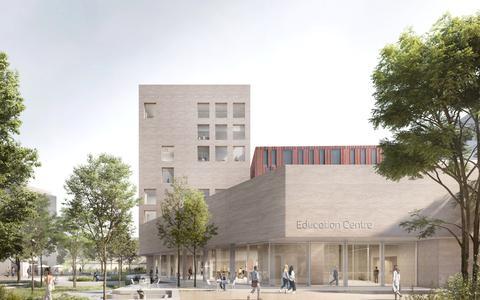 Het nieuwe onderwijscentrum voor de geneeskunde- en farmacie-opleidingen van de Rijksuniversiteit Groningen en het UMCG.