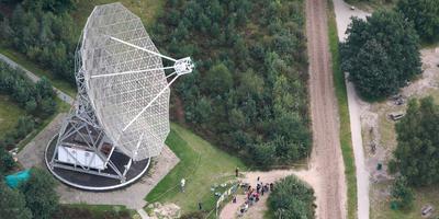 De Dwingeloo Radiotelescoop vanuit de lucht. FOTO ARCHIEF DVHN