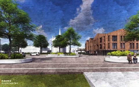 Het nieuwe Kerkplein in Bedum opnieuw parkeerplaats, maar groter park moet zorgen voor groen