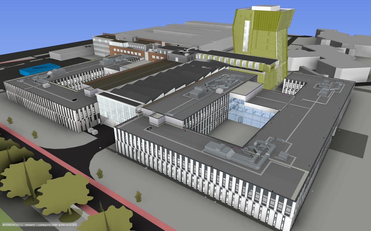 Artist's impression van Zernikeplein 7 vanaf Blauwborgje als het project helemaal klaar is.  Na de vakantie begint de bouw van het noordelijk deel (links).
