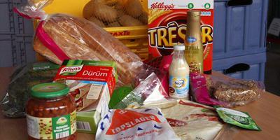 Voorbeelden van producten die op het Voedselbank-lijstje staan.