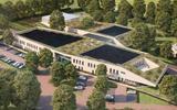 Het nieuwe schoolgebouw van Terra Emmen vanuit de lucht.