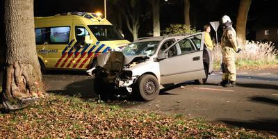 Een automobilist is zondagavond op De Kockstraat bij het Drentse Meppen tegen een boom gebotst