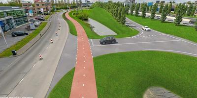 Bedrijventerrein Eemspoort krijgt een eigen afrit van de zuidelijke ringweg. Afbeelding: Combinatie Herepoort