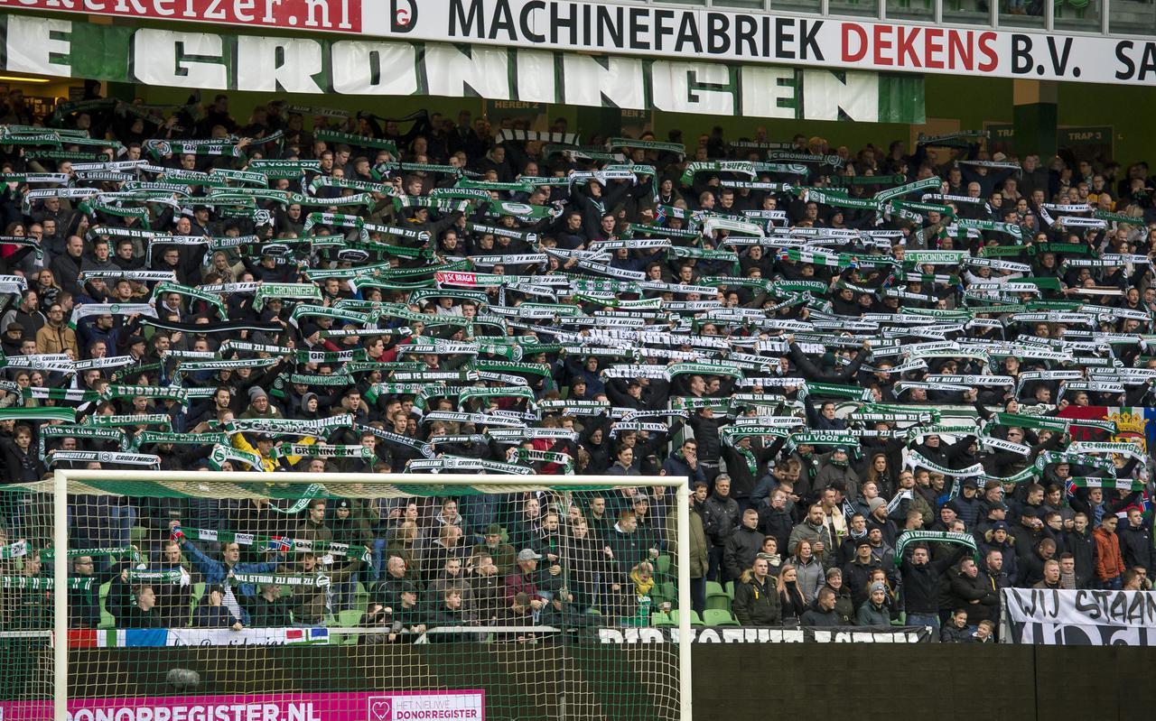 De Noord-tribune van het Hitachi Stadion tijdens FC Groningen-FC Emmen. Het is de vraag of dit soort beelden nog terugkeren in 2020.