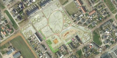 Plattegrond van het toekomstige dorpspark.