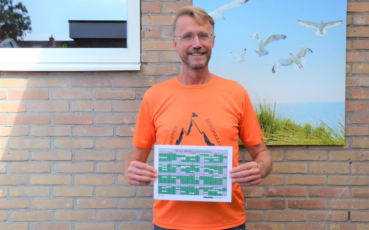 Bennie de Vries toont de 'alle dagen van het jaar gelopen ultra(marathon) kalender'.