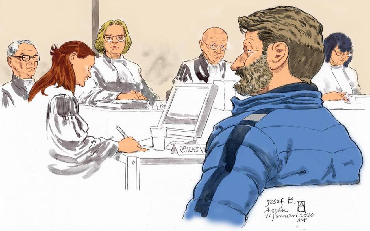 Josef B. bij een eerdere zitting voor de rechtbank. Tekening: ANP.