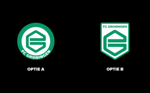 De keuzes die FC Groningen de supporters voorlegt. Links het bestaande logo, rechts het voorgestelde nieuwe.