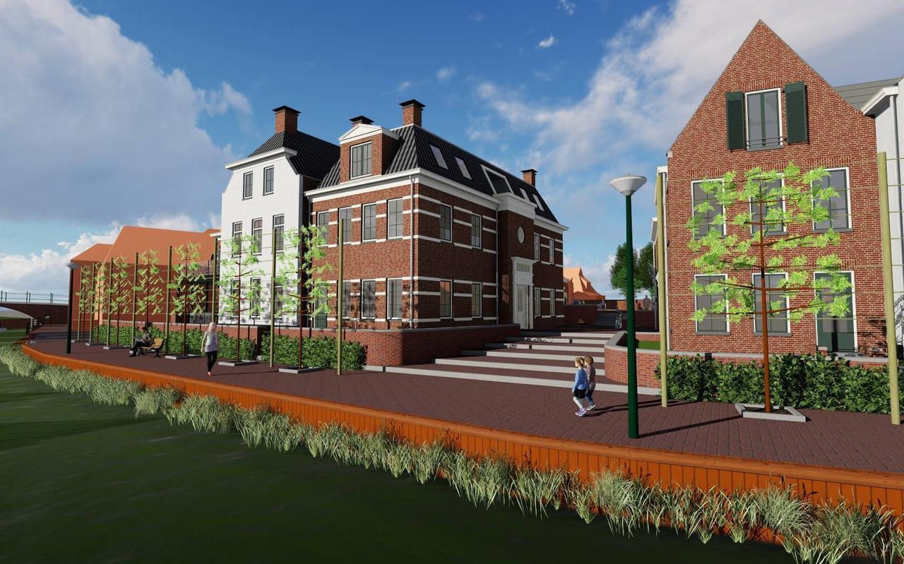 Een impressie van de geplande nieuwbouw op het Boogplein langs het Winsumerdiep.