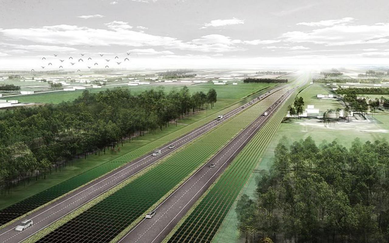 Toekomstbeeld van de A37? Het plan is om aan weerszijden van de weg, in de middenberm en bij knooppunten duizenden zonnepanelen aan te leggen.