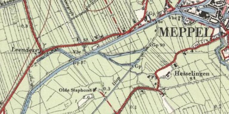 Het Meppelerdiep met links het Rak van Leenders op een topografische kaart uit 1954.