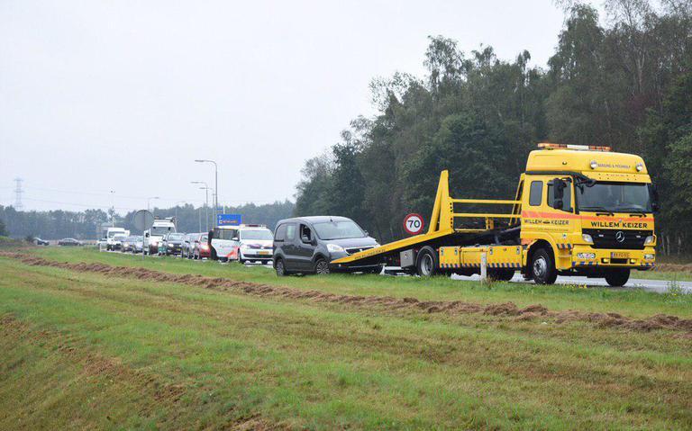 File na ongeval op N34 bij Klijndijk.