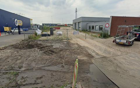 De locatie van de nieuwe oprit vanaf de Stettinweg.