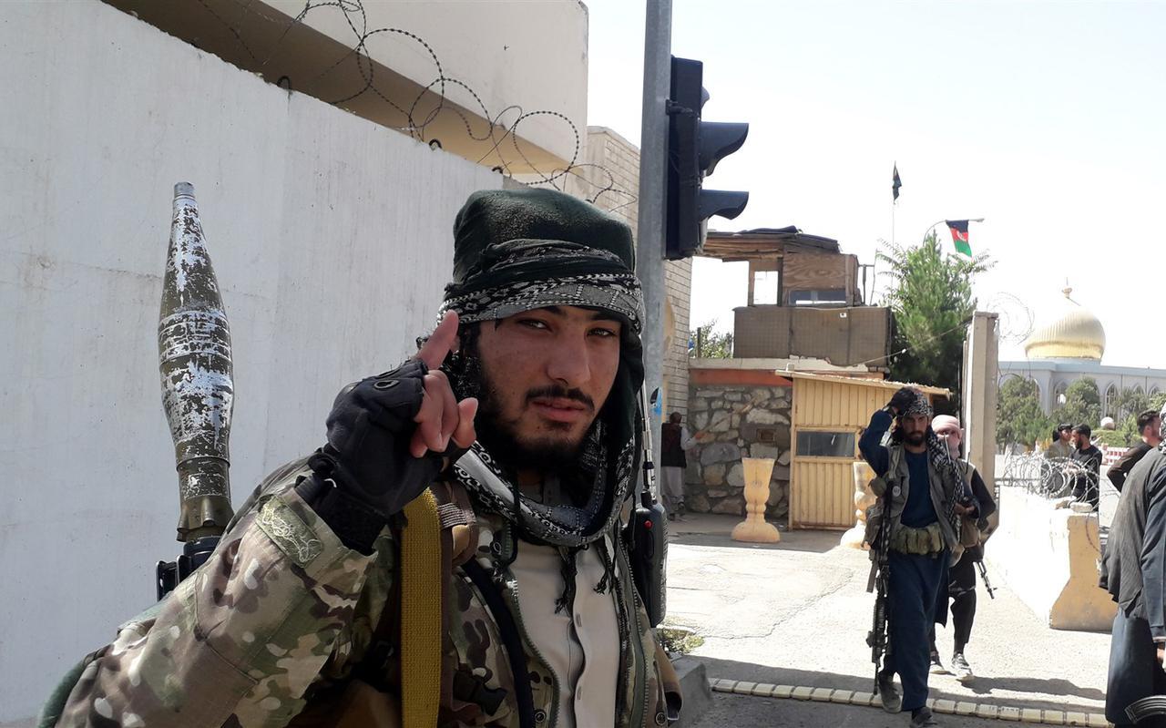 Taliban-militanten na het veroveren van de stad Ghazni, 12 augustus 2021.