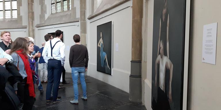 Tijdens de opening van de expositie. FOTO ELS MONDT