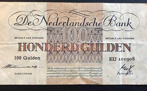 Een biljet van 100 gulden uit 1945.