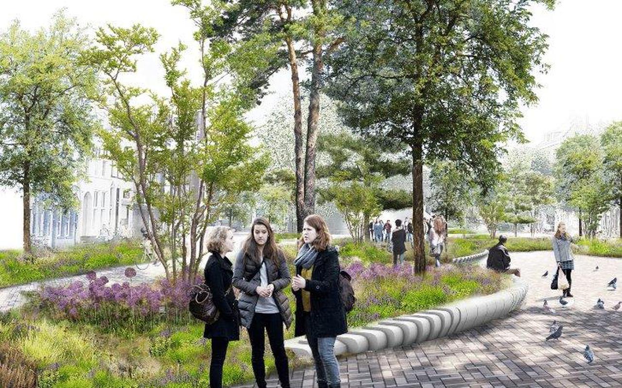 Een artist's impression van het toekomstige, groene Damsterplein.