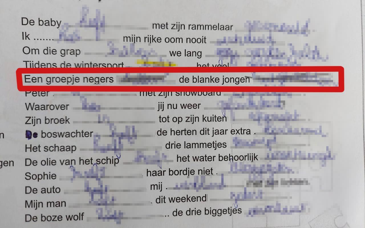 De gewraakte passage in de taalopdracht die leerlingen van basisschool GSV in Groningen moesten doen.