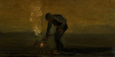 Boer verbrandt onkruid (1883), Vincent Van Gogh.