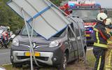 Auto ramt verkeersbord A28 bij Beilen