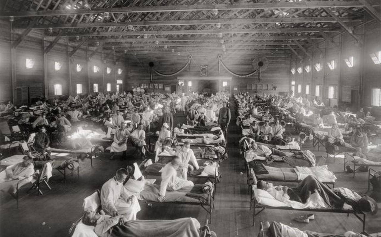 Spaanse Griep, militair hospitaal in Kansas.
