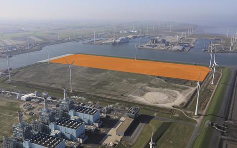 De beoogde plek van Van Merksteijn in de Eemshaven.