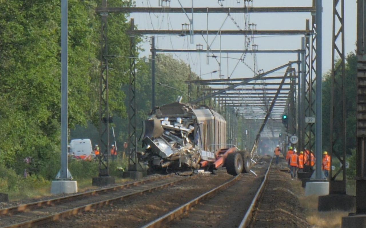 De passagierstrein knalde op de kipwagen