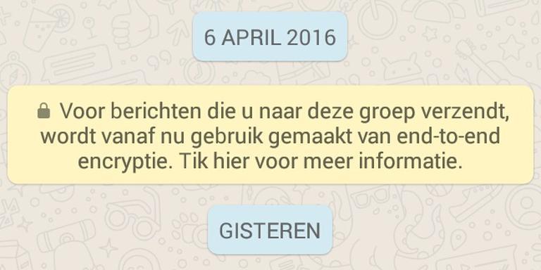De melding in WhatsApp
