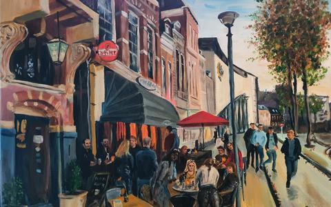 Schilderij van café Buckshot in Groningen te koop als legpuzzel: opdat we niet vergeten