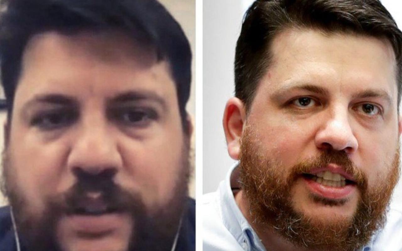 De echte Volkov (rechts) en de nep-Volkov uit het Zoom-gesprek.