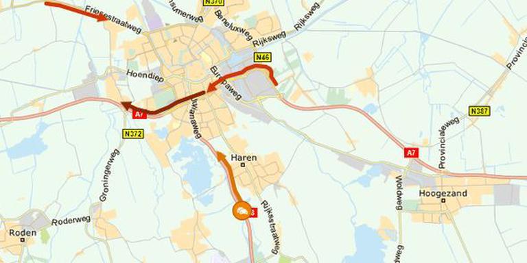 De situatie op de weg rond Groningen rond half negen donderdagochtend. Afbeelding: ANWB