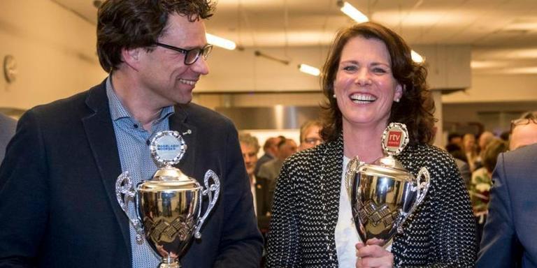 De winnaars van vorig jaar: de Asser wethouder Maurice Hoogeveen werd Drents politicus, CDA-fractievoorzitter in de Staten Riette Wollerich politiek talent.