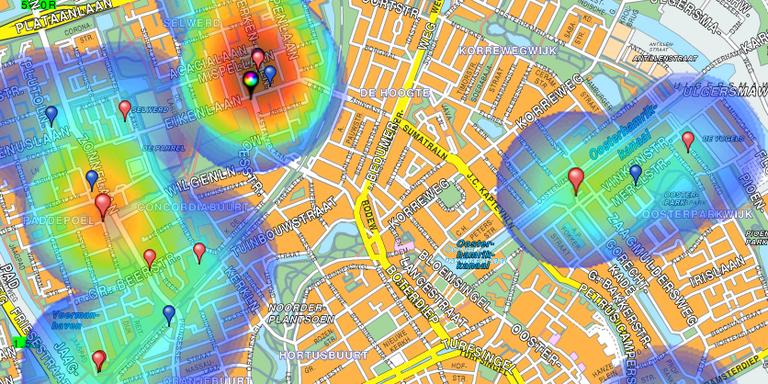 Het kaartje met gebieden waar veel wordt ingebroken. FOTO POLITIE GRONINGEN