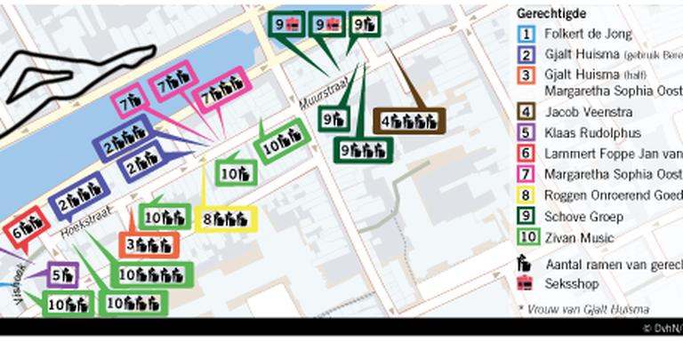 De hoerenpanden en hun eigenaars met het aantal ramen per gerechtigde. Infographic Anna Bies