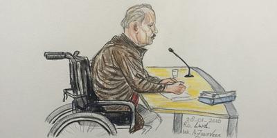 Lambert D. in de rechtbank. Tekening Annet Zuurveen